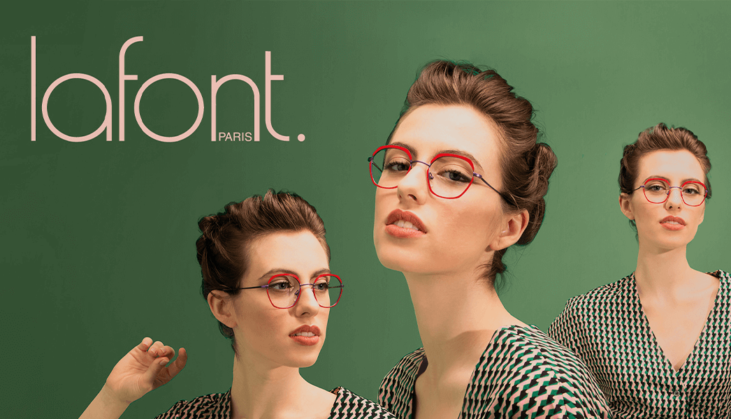 lafont model wearing gorgeous red glasses